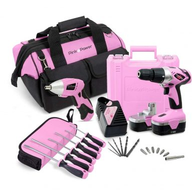 Pink Power 18V Cordless Drill Driver & Electric Screwdriver Combo Kit