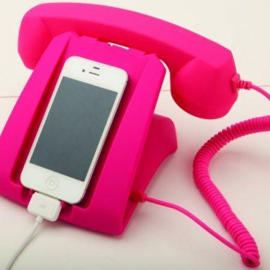 Pink Talk Dock Mobile Device Handset and Charging Cradle
