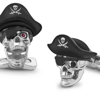 Pirate Skull Cufflinks With Hat And Ruby Eyes