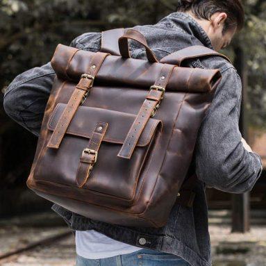 Polare Retro Full Grain Leather 17″ Laptop Backpack