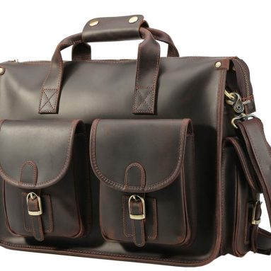Polare Vintage Full Grain Leather Messenger Bag For Laptop Briefcase Satchel Bag