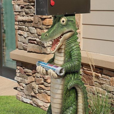 Postal Gator Mail Post Sleeve Statue