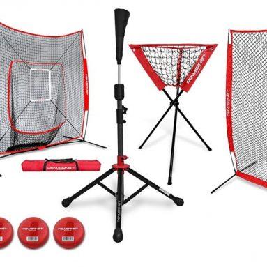 PowerNet DLX Baseball Softball Net w Strike Zone, Training Ball, I-Screen, Travel Tee, and Ball Caddy