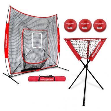 PowerNet DLX Baseball Softball 7×7 Practice Net Bundle wStrike Zone, Ball Caddy + 3 Training Balls