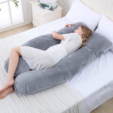 Pregnancy Pillow with Hypoallergenic Velvet Cover