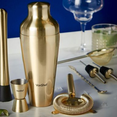 Premium Brushed Gold Parisian Cocktail Shaker Barware Set