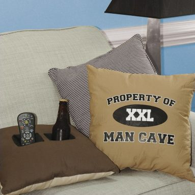 """Property of Man Cave"" Double Pocket Toss Pillows"