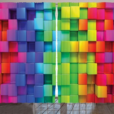 Rainbow Colored Contour Display Futuristic Block Brick Curtains