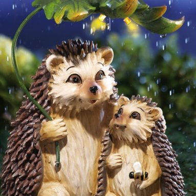 Rainy Day Hedgehogs Solar Lighted Garden Sculpture