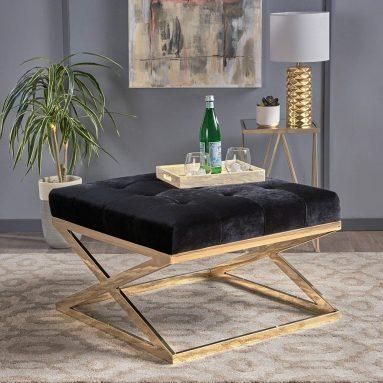 Rayna Modern Tufted Black Velvet Ottoman