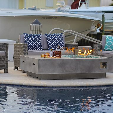 Rectangular Modern Concrete Fire Pit Table