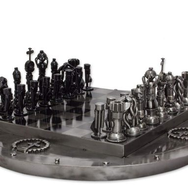 Recycled Medieval Challenge' Upcycled auto Part Chess Set