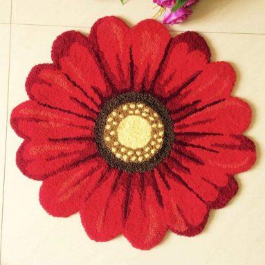 Red Handmade Weaving Sunflower Rug