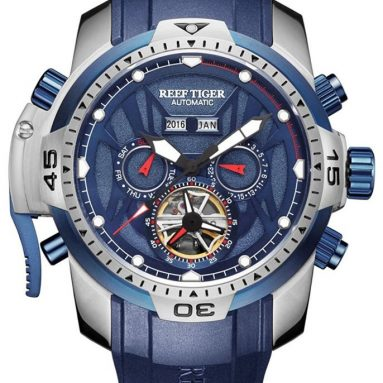 Reef Tiger Sport Watch Mens Blue Dial Steel Luminous Automatic Watch