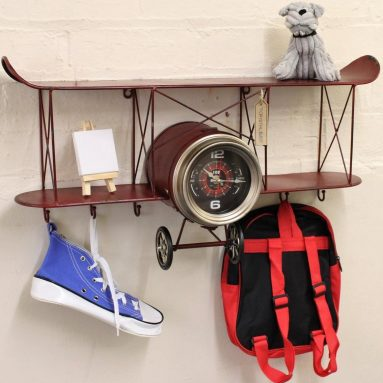 Wall Clock with Shelf and Hooks Secret Storage Comparment