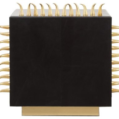 Rhapsody Black Leather Danger Side Table with Gold Spikes