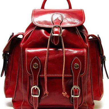 Roma Backpack in Red Italian Polished Calf-Skin Leather
