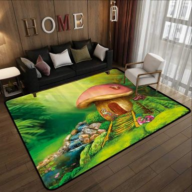 Room Design Cartoon Image Garden with Mushroom Houses