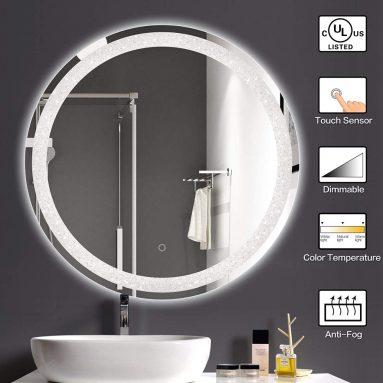 Round LED Bathroom Light Vanity Mirrors Anti-Fog