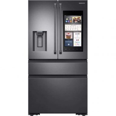 Samsung Black Stainless Steel Counter-Depth 4-Door Refrigerator With Family Hub 2.0