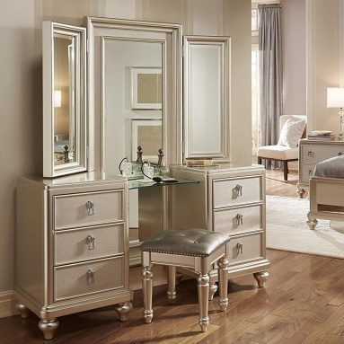 Samuel Lawrence Diva Vanity with Stool in Silver