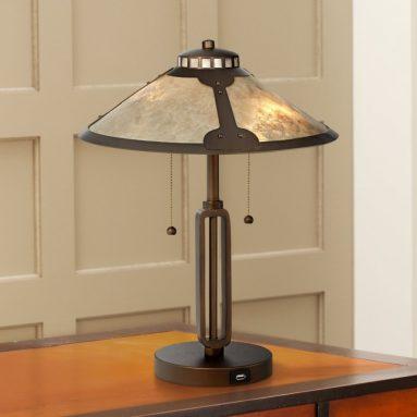 Samuel Mica Shade Desk Lamp with USB Port