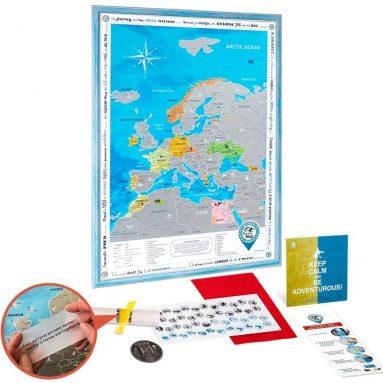 Scratch off Europe Map Framed