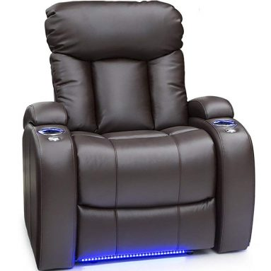 Seatcraft Orleans Leather Gel Manual Recliner with in-Arm Storage, and USB Charging