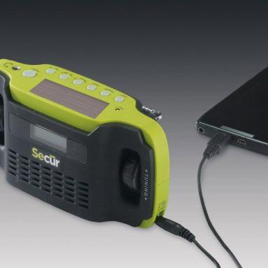 Digital Solar Dynamo AM/FM Radio Alarm Clock Smart cell phone Charger
