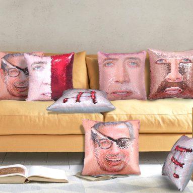 Sequin Home Decor Pillow Cover Nicolas Cage Pattern Throw Pillow Case