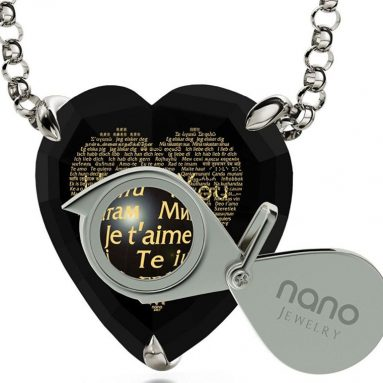 Silver Heart Pendant 24k Gold Inscribed in 120 Languages on Cubic Zirconia
