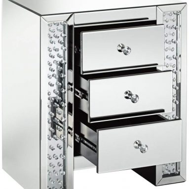 Silver Mirrored Crystals 3-Drawer Accent Table