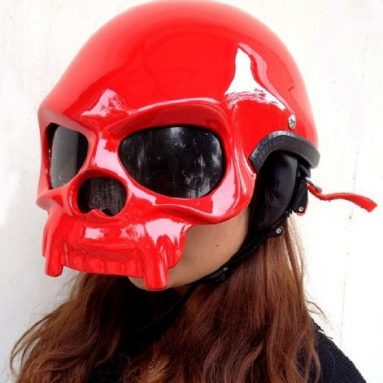 Skeleton Motorcycle Red Skull Helmet