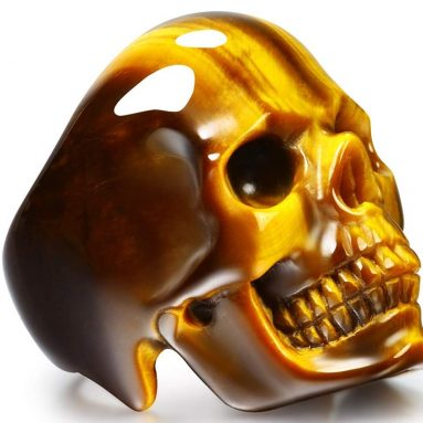 Skullis Gold Tiger Eye Crystal Skull Ring