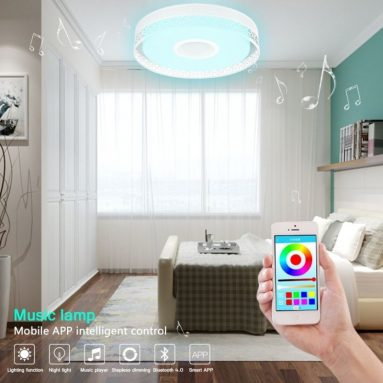 Smart LED Colorful Music Ceiling Light, Bluetooth 4.0 Flush Mount Recessed Fixture Lamp