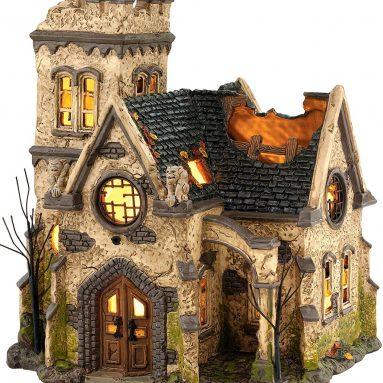 Snow Village Halloween The Haunted Church Lit House
