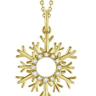 Snowflake Diamond Pendant Necklace 14k Yellow Gold