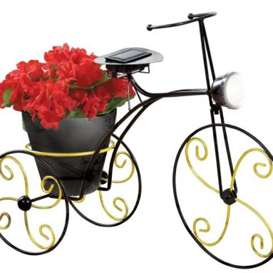 Solar-Powered Metal Bicycle Garden Planter