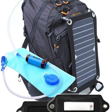 SolarSak water filtering solar hydration backpack with LED attachment