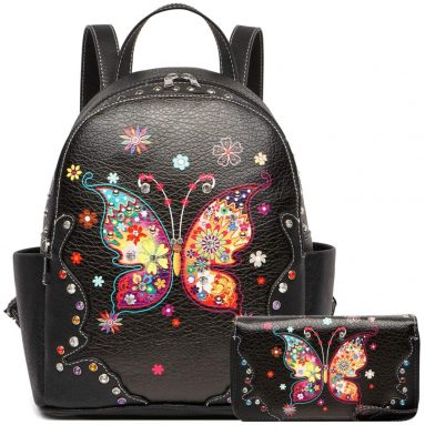 Spring Butterfly Flower Fashion Backpack