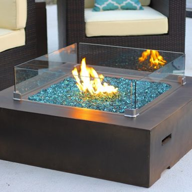 Square Modern Concrete Fire Pit Table w/ Glass Guard and Crystals
