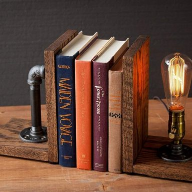 Steampunk bookend table pipe lamp with Classic Edison bulb and oak wood base