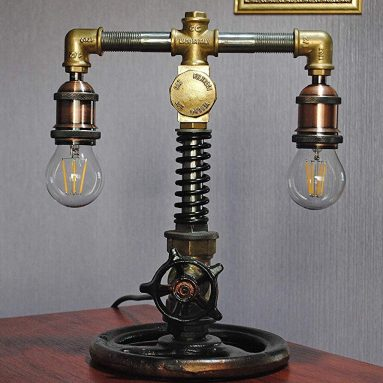 Steampunk decor lamp Brass lamp pipe Cabin