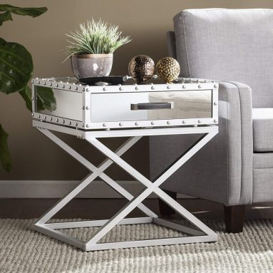 Studded Mirrored End Table