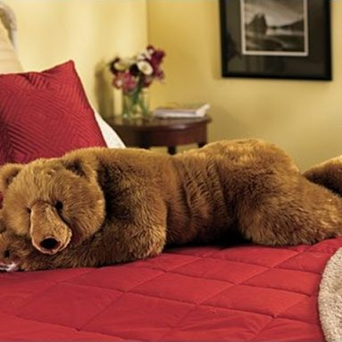 Super-Soft Big Bear Hug Body Pillow with Realistic Accents