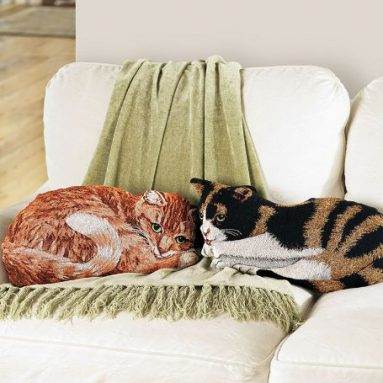 Tapestry Orange Tabby Cat Throw Pillow