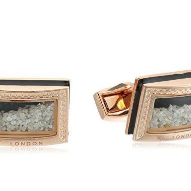 Tateossian Signature Diamond Dust Rose Gold Black Enamel D Shape CuffLink