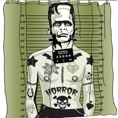 Tattooed Monster  Shower Curtain