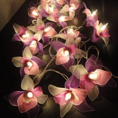 Thai Vintage Handmade 20 White Pink Purple Orchid Flower