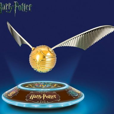 The HARRY POTTER Levitating GOLDEN SNITCH Sculpture with Light Up Base